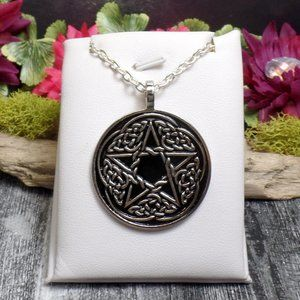 Celtic Pentacle Necklace - Black Celtic Knot